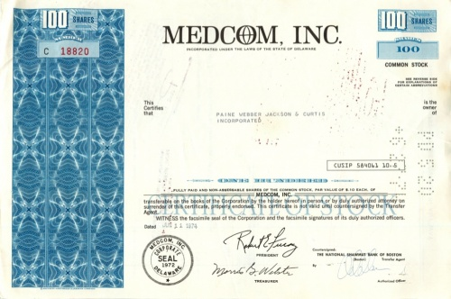 100 акций «Medcom, Inc» 1947 года (США)