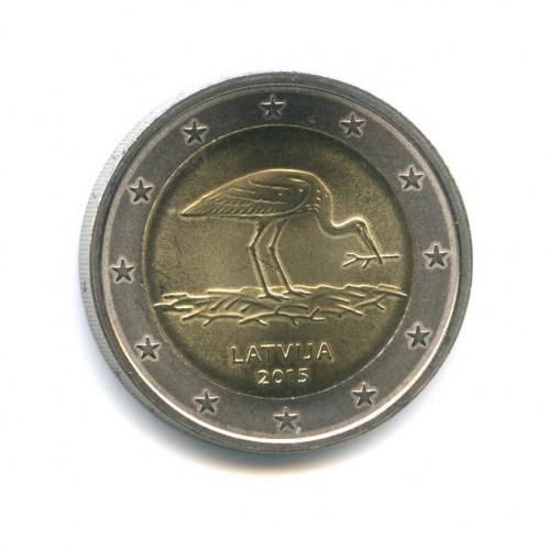 2 евро - Природа в опасности - Чёрный аист 2015 года (Латвия)