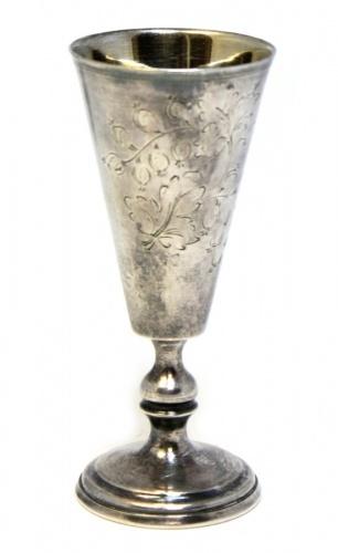 Рюмка (штихельный рисунок, клеймо, золочение, мельхиор), 11 см