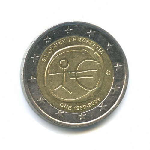 2 евро — 10-летие монетарной политики ЕС (EMU) ивведения евро 2009 года BE (Бельгия)