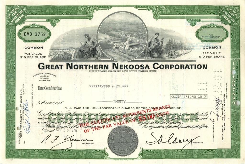 30 акций «Great Northern Nekoosa Corporation» 1976 года (США)