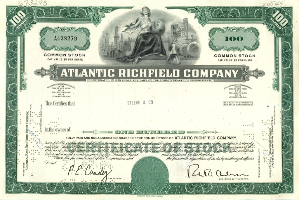 100 акций «Atlantic Richfield Company» 1968 года (США)