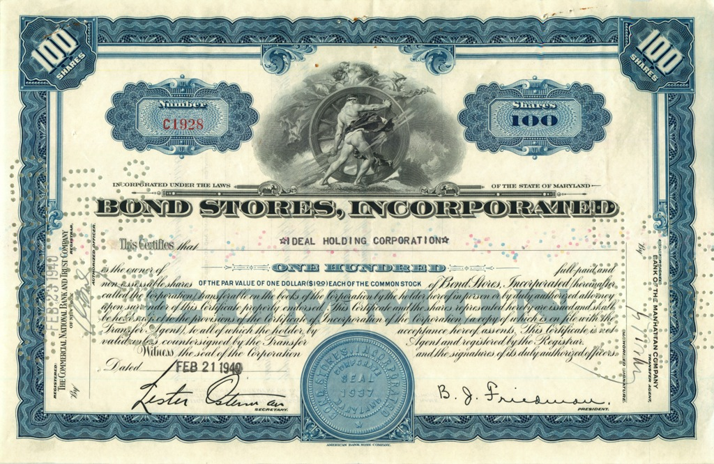 100 акций «Bond Stores, Incorporated» 1940 года (США)