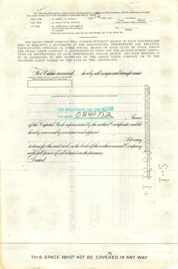 1 акция «The Grand Union Company» 1963 года (США)