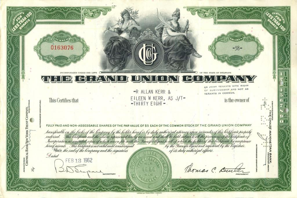 38 акций «The Grand Union Company» 1962 года (США)