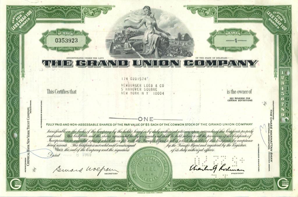 1 акция «The Grand Union Company» 1969 года (США)