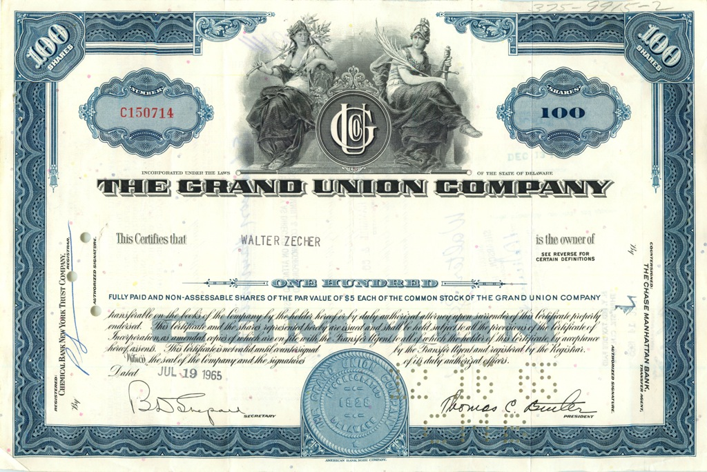 100 акций «The Grand Union Company» 1965 года (США)