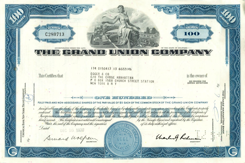 100 акций «The Grand Union Company» 1970 года (США)