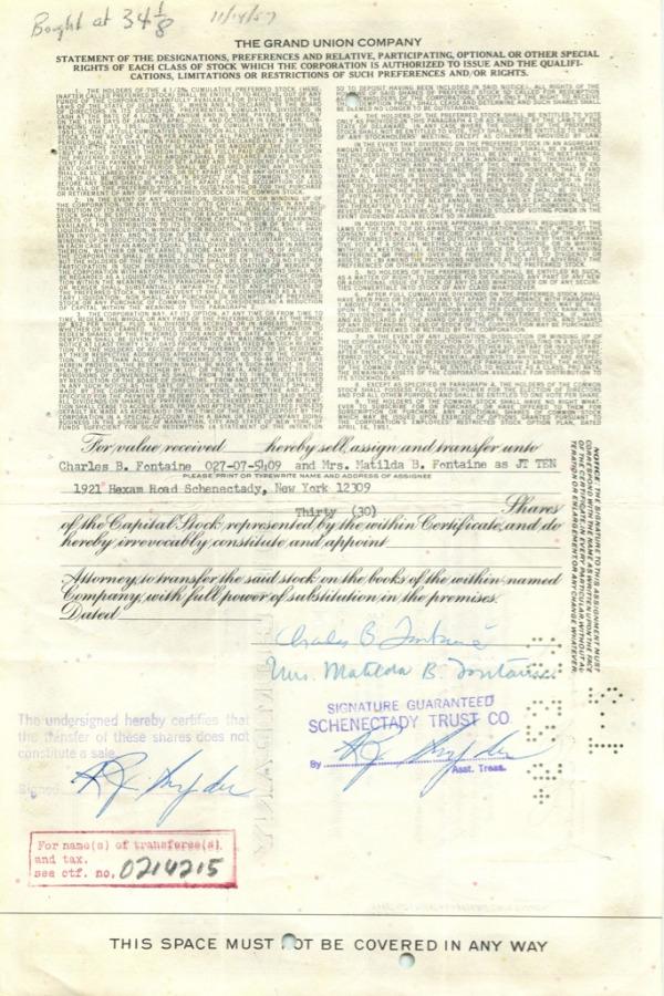 30 акций «The Grand Union Company» 1957 года (США)