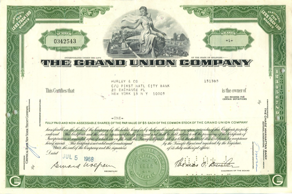 1 акция «The Grand Union Company» 1968 года (США)