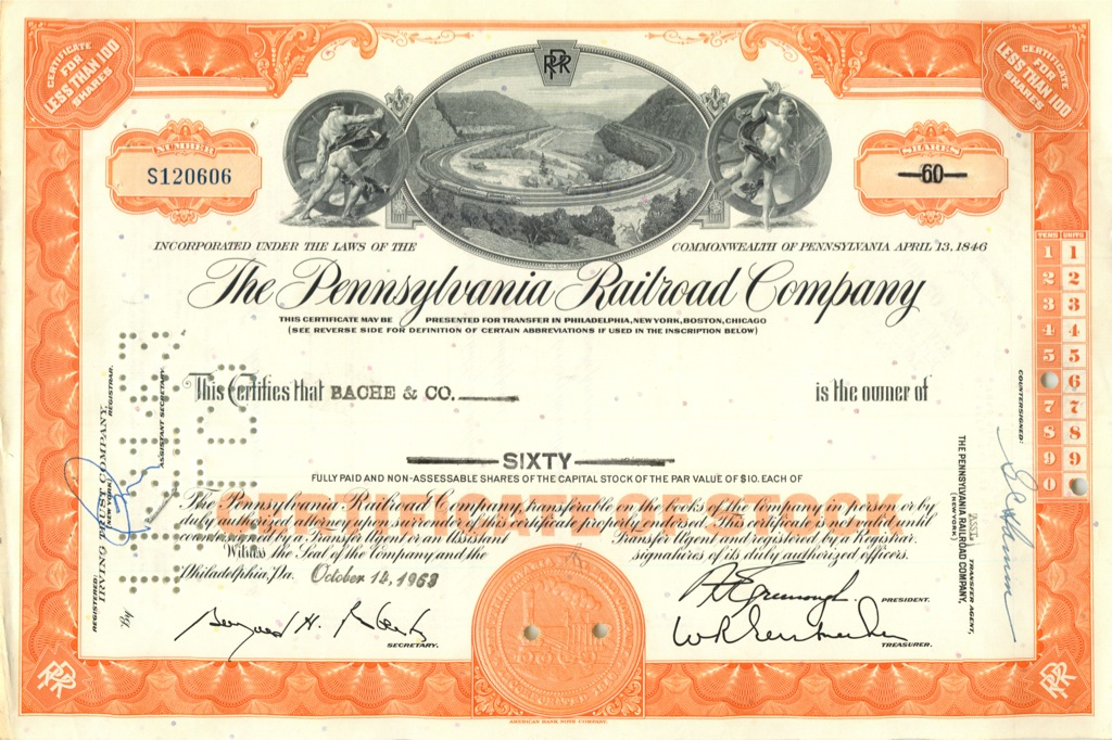 60 акций «The Pennsylvania Railroad Company» 1963 года (США)