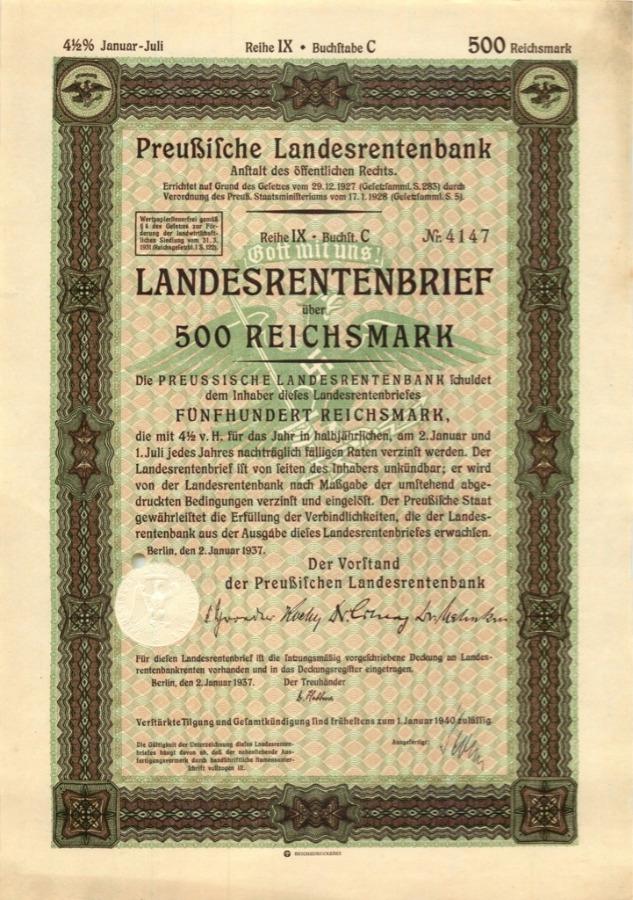 500 рейхсмарок 1940 года (Германия (Третий рейх))