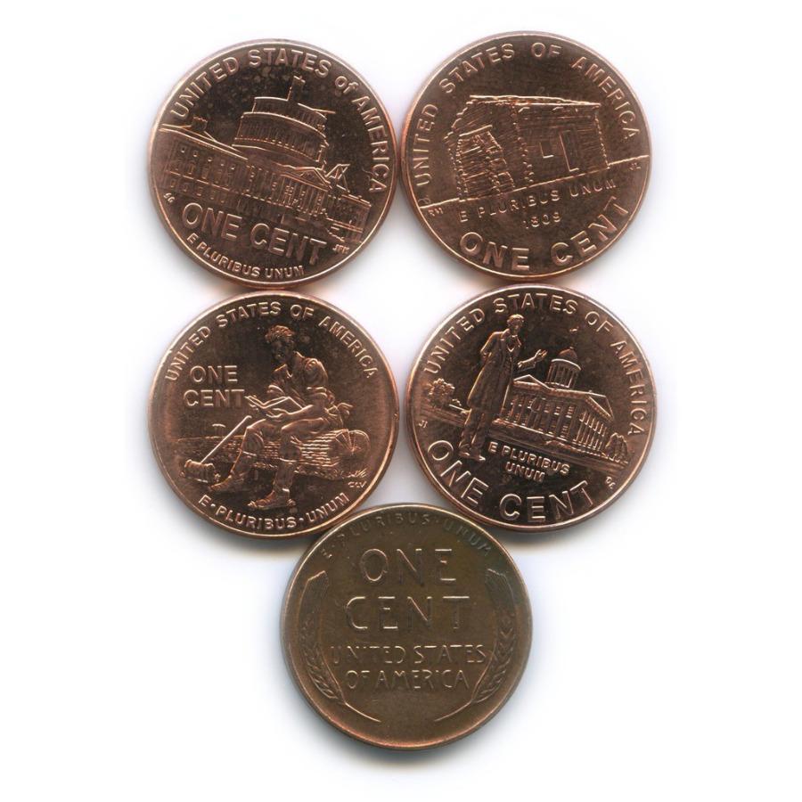 Набор монет 1 цент 1957, 2009 (США)
