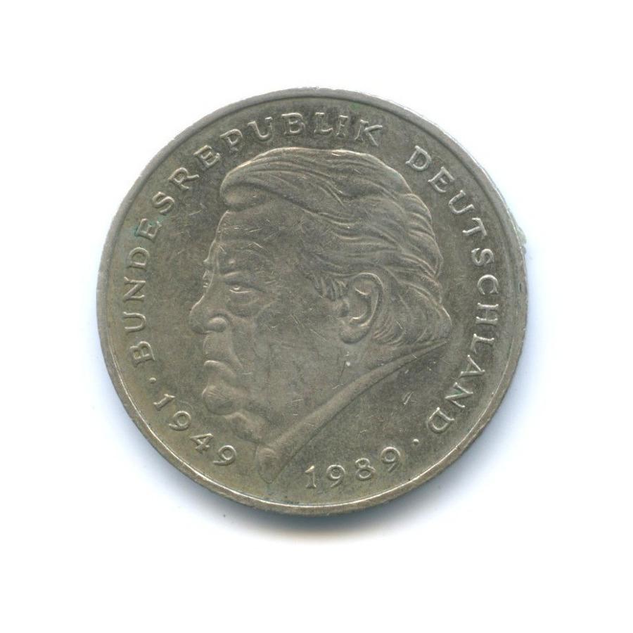 2 марки — Франц Йозеф Штраус, 40 лет Федеративной Республике (1949-1989) 1990 года J (Германия)