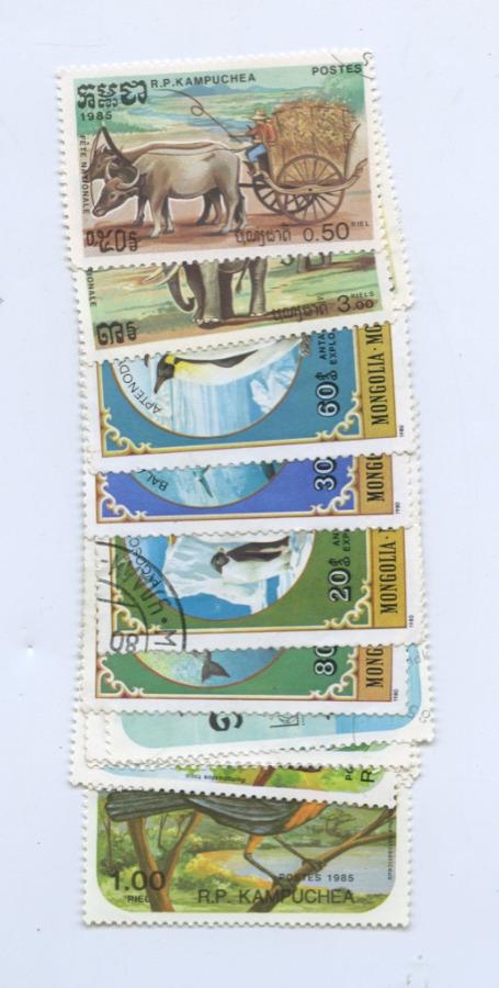 Набор почтовых марок (Камбоджа, Монголия, 14 шт.)