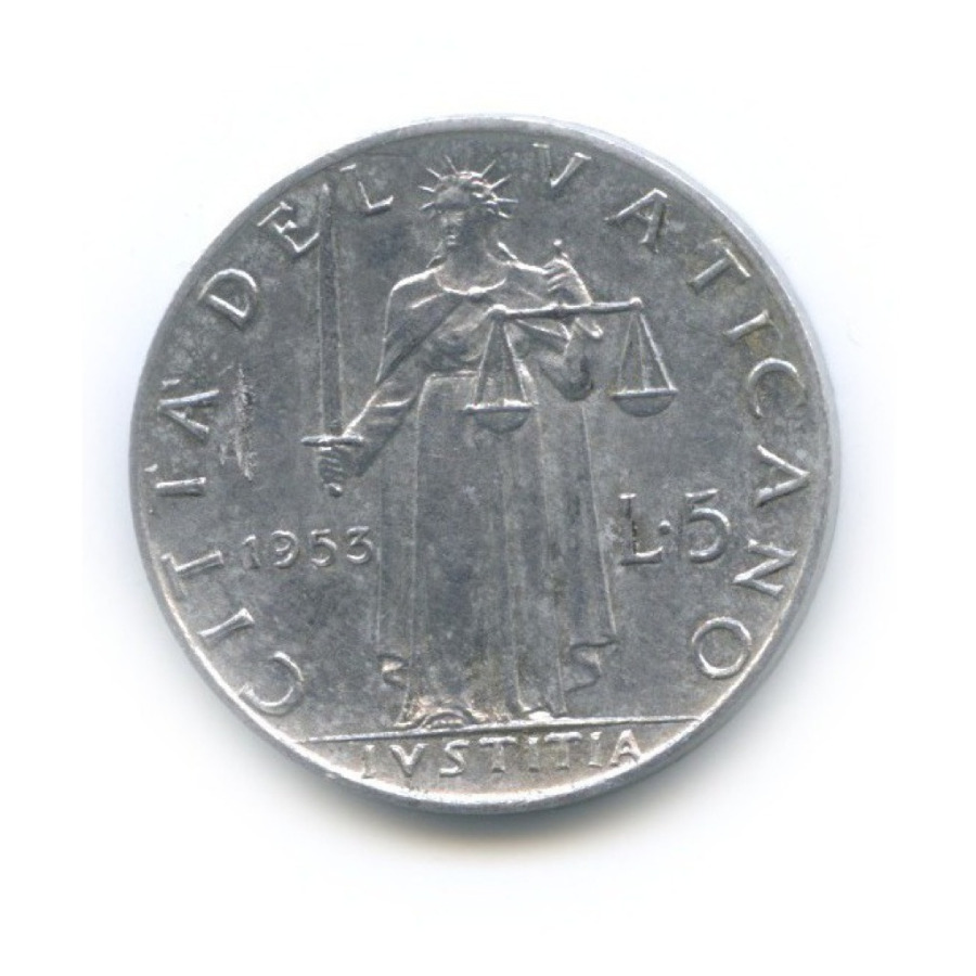 5 лир - Фигура Справедливости 1953 года (Ватикан)