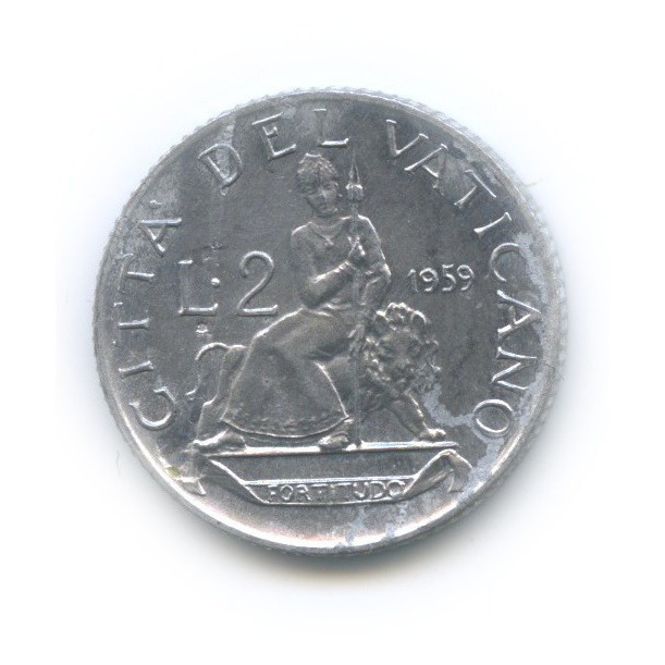 2 лиры - Фигура Отваги 1959 года (Ватикан)