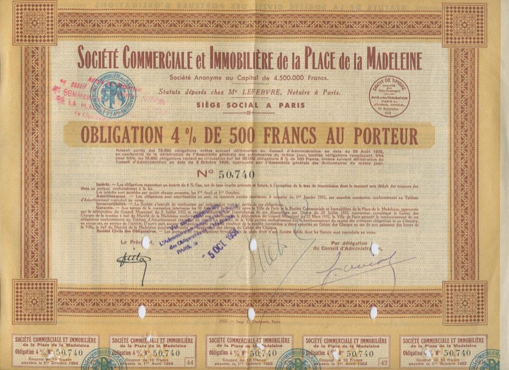 Облигация 500 франков «Societe Commerciale etImmobiliere delaPlace delaMadeleine» 1951 года (Франция)