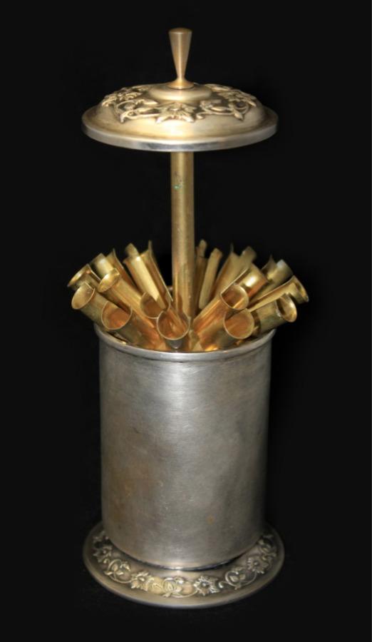 Сигаретница сгравировкой, 13,5 см (латунь, серебрение) 1957 года
