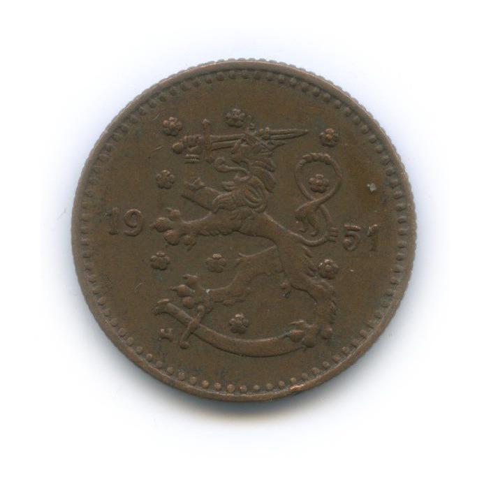 1 марка 1951 года Cu (Финляндия)