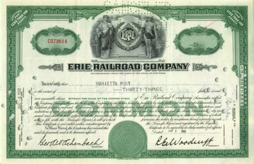33 акции «Erie Railroad Company» 1950 года (США)