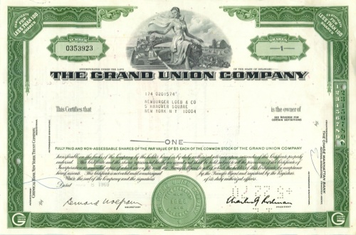1 акция «The Grand Union Company» 1969 года (США)