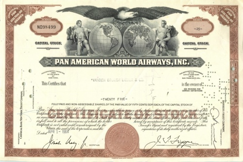 25 акций «Pan American World Airways, Inc» 1966 года (США)