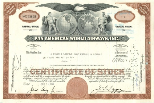 2 акции «Pan American World Airways, Inc» 1968 года (США)