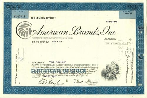 1000 акций «American Brands, Inc» 1975 года (США)