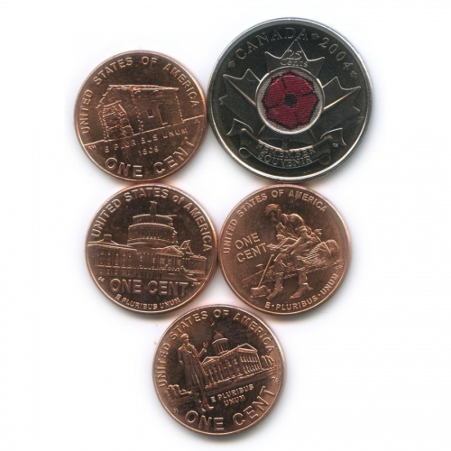 Набор юбилейных монет (Канада, США) 2004, 2009