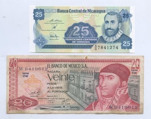 Набор банкнот (Никарагуа, Мексика)