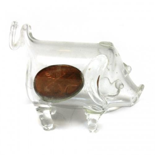 Фигурка «Поросенок» смонетой «1 раппен 1975, Швейцария» (стекло, 3 см)