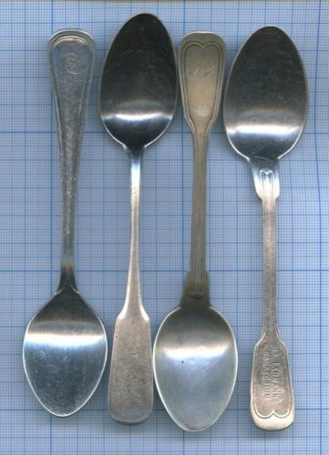 Набор чайных ложек (клейма, серебрение, до1917 г.)