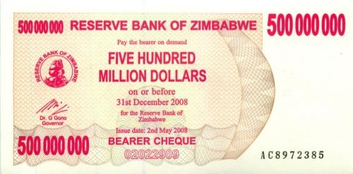 500 миллинов долларов (Зимбабве) 2008 года