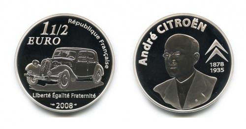 1 1/2 евро - Создатель автомобиля Андре Гюстав Ситроен (вкоробке, ссертификатом) 2008 года (Франция)