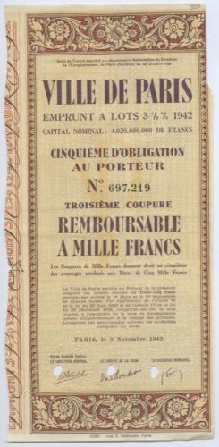 Облигация «Ville DeParis» 1942 года (Франция)