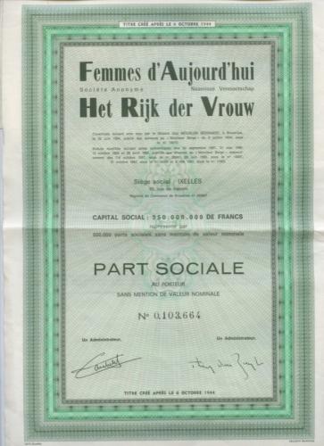 Акция «Femmes d'Aujourd'hui, S. A. Het Rijk der Vrouw, N. V.» 1944 года (Франция)