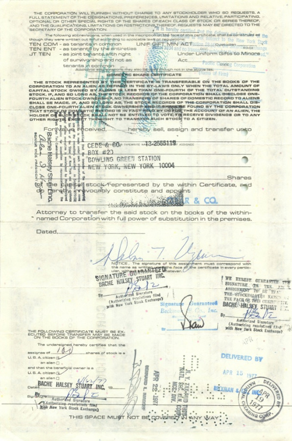100 акций («International Telephone and Telegraph Corporation») 1976 года (США)