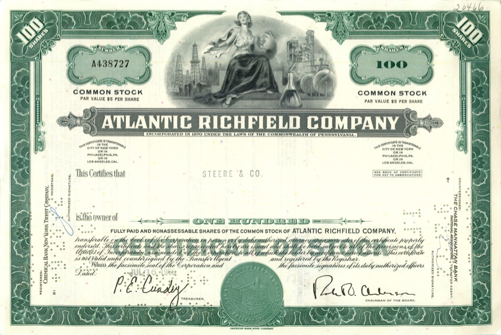 100 акций («Atlantic Richfield Company») 1968 года (США)