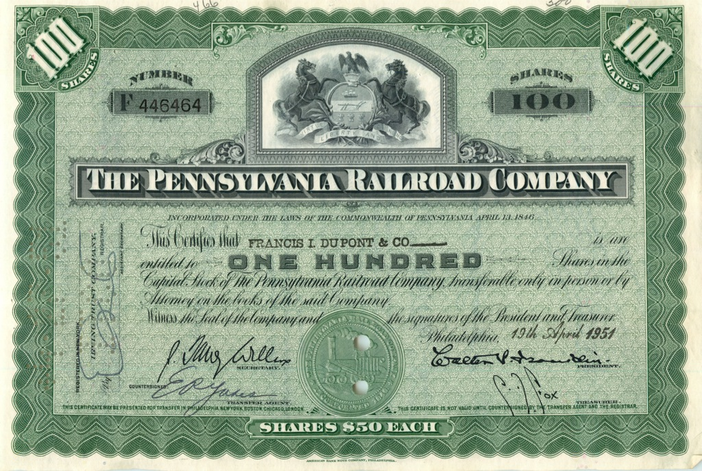 100 акций («The Pennsylvania Railroad Company») 1951 года (США)