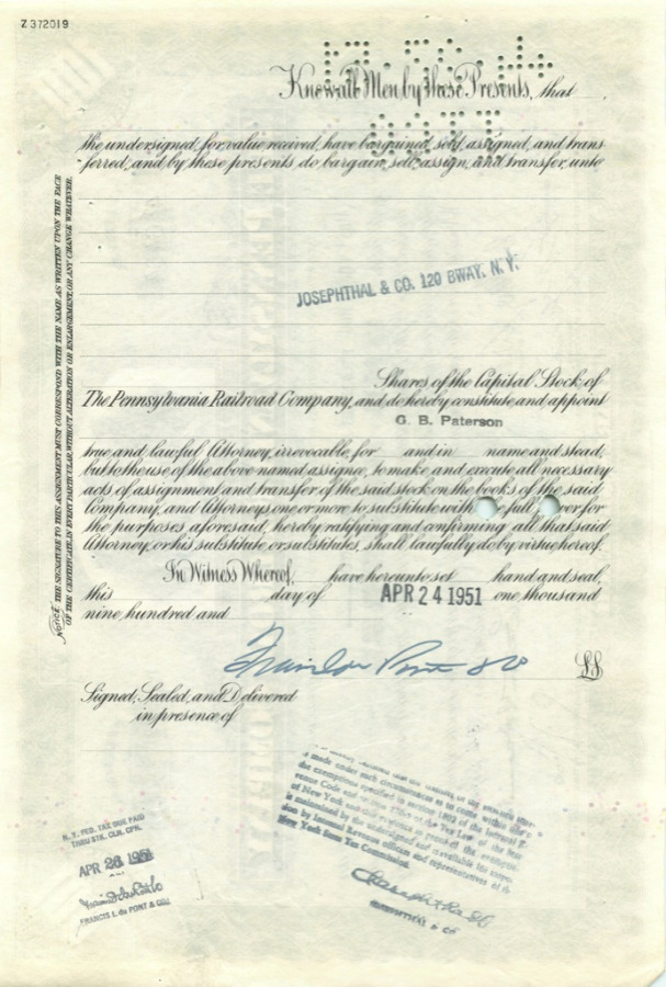 100 акций («The Pennsylvania Railroad Company») 1951 года (США)