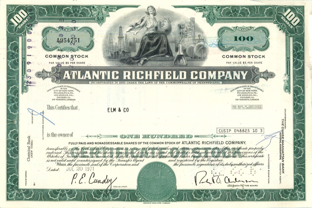 100 акций («Atlantic Richfield Company») 1971 года (США)