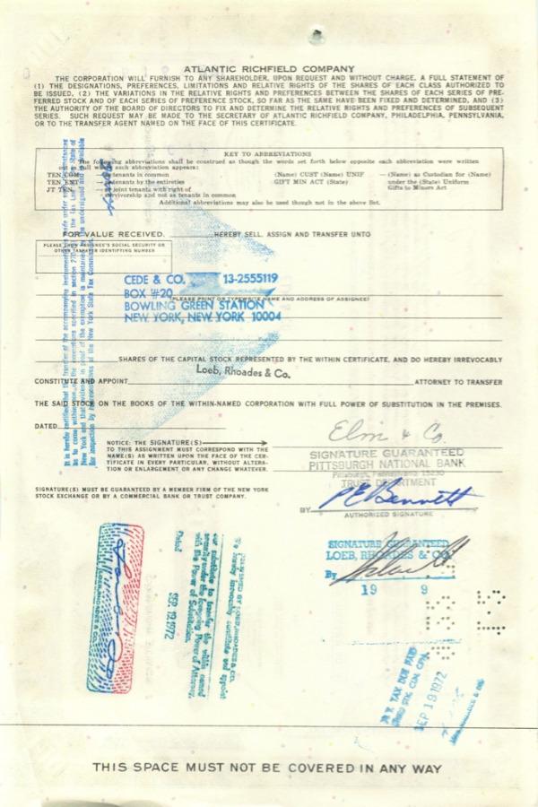 100 акций («Atlantic Richfield Company») 1971 года (США)
