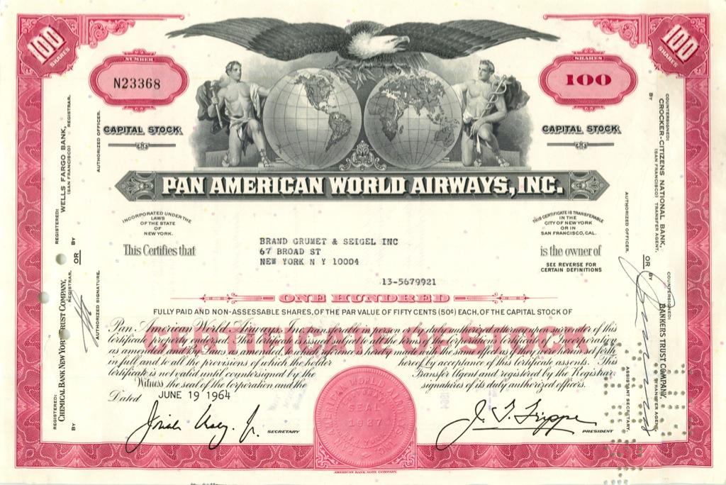 100 акций («Pan American World Airways, Inc») 1964 года (США)