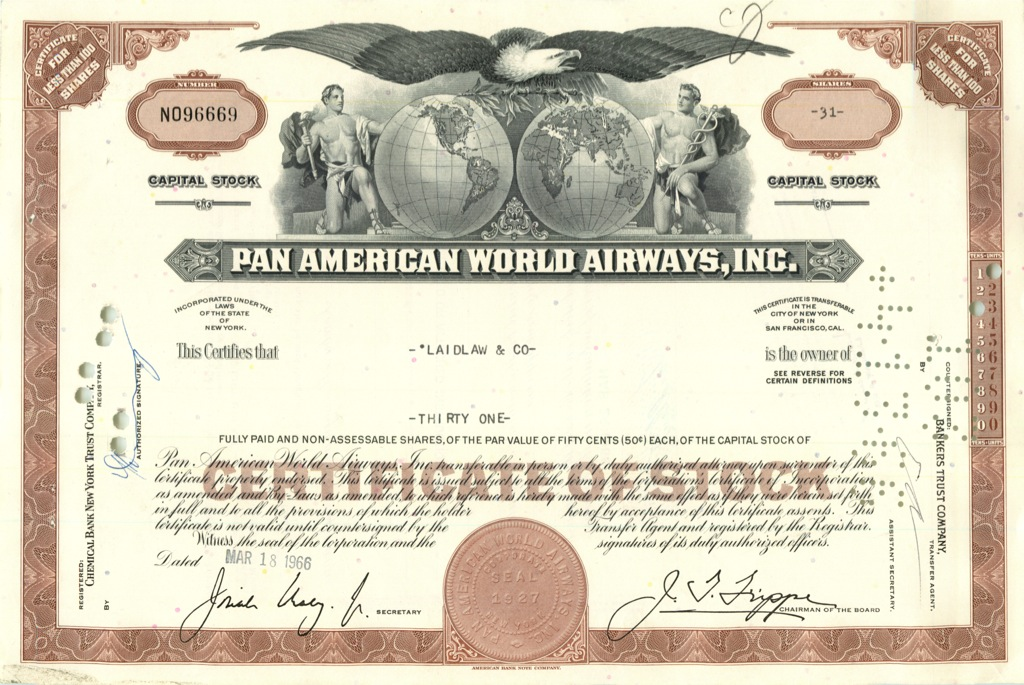 31 акция («Pan American World Airways, Inc») 1966 года (США)