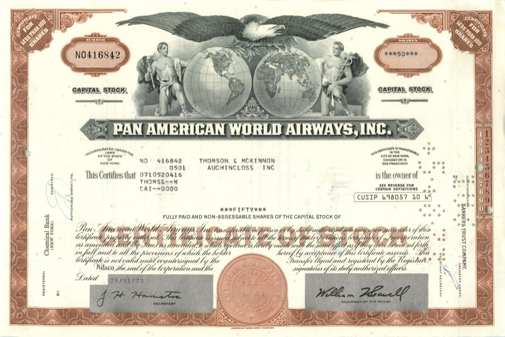 50 акций («Pan American World Airways, Inc») 1973 года (США)