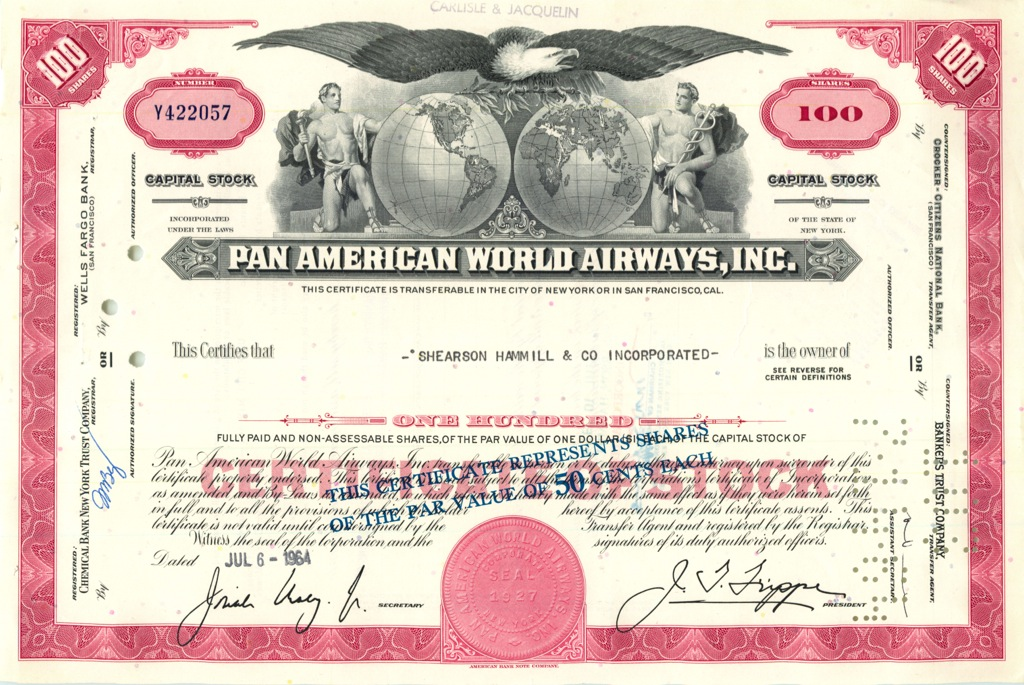 100 акций («Pan American World Airways, Inc») 1964 года (США)