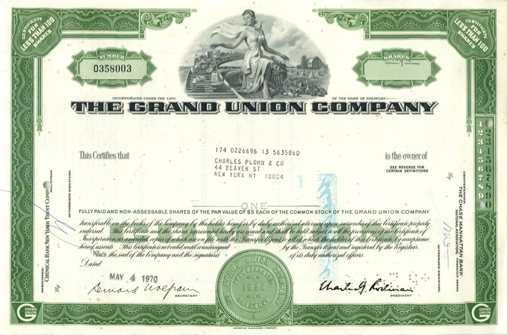 1 акция («The Grand Union Company») 1970 года (США)