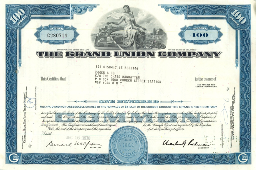 100 акций («The Grand Union Company») 1970 года (США)