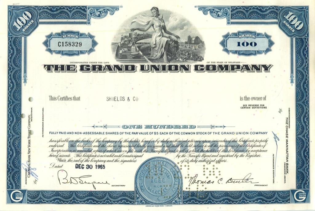 100 акций («The Grand Union Company») 1965 года (США)